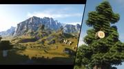 Minecraft s Nocubes modom a raytracingom